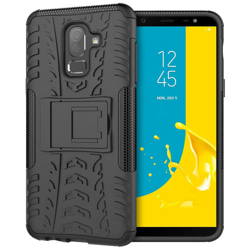 Dual Layer Rugged Tough Shockproof Case for Samsung Galaxy J8 - Black